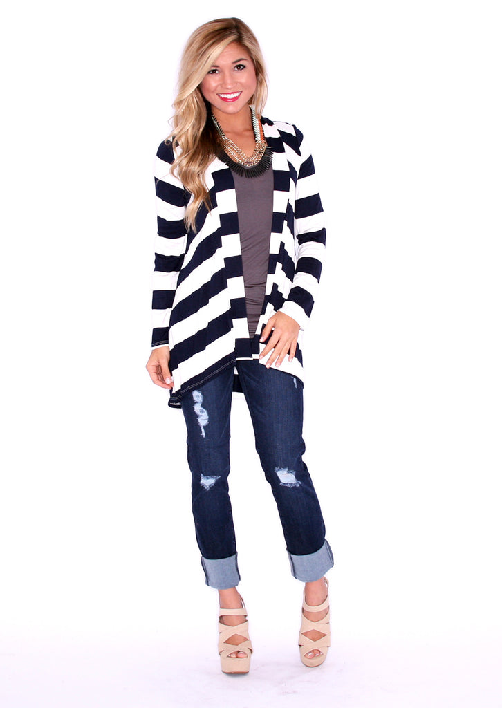 Happy in Stripes Cardi Navy/White
