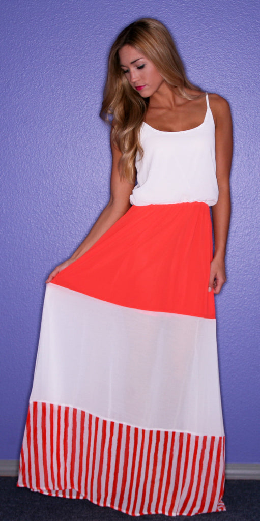 Happy Stripe Maxi in Orange