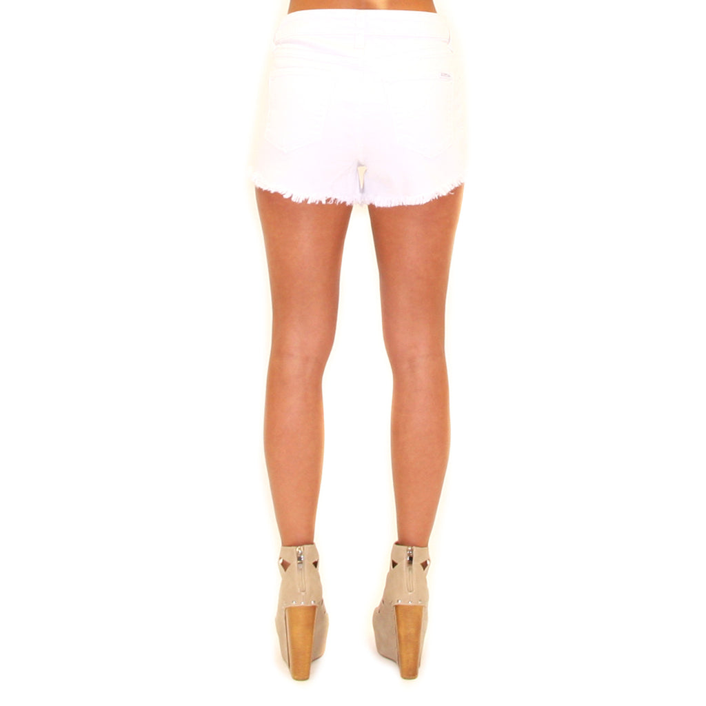 High Rise Destroyed Shorts White