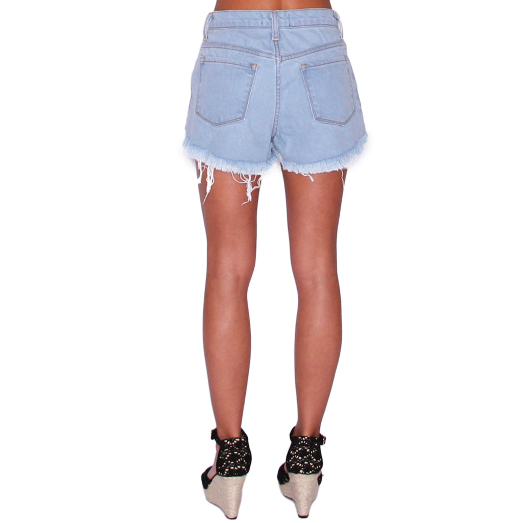 High Rise Distressed Frayed Shorts