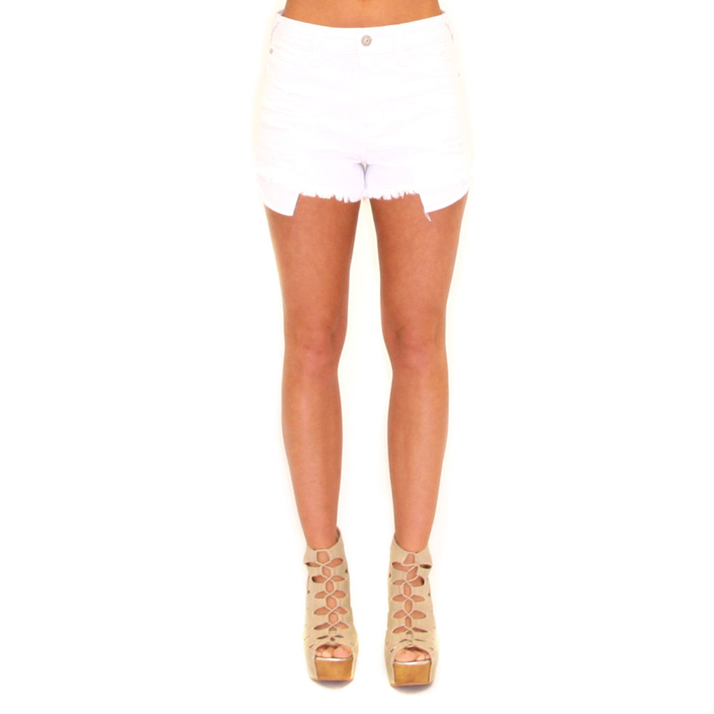 Highrise Distressed Shorts White