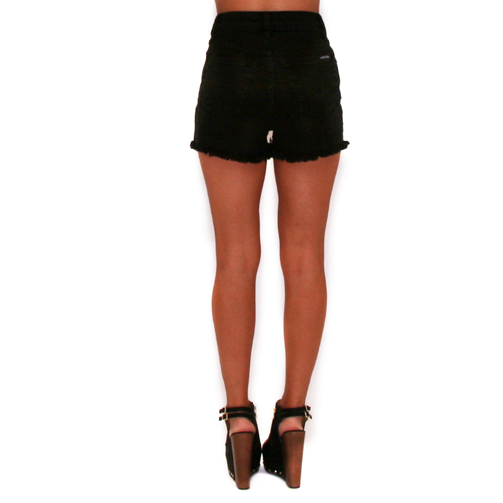 High Rise Distressed Shorts Black