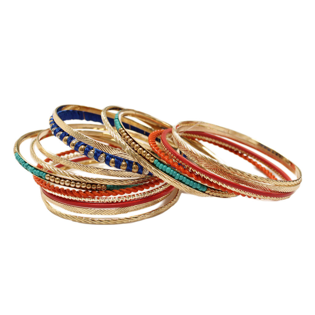 Hollywood Hills Bangle Set in Coral