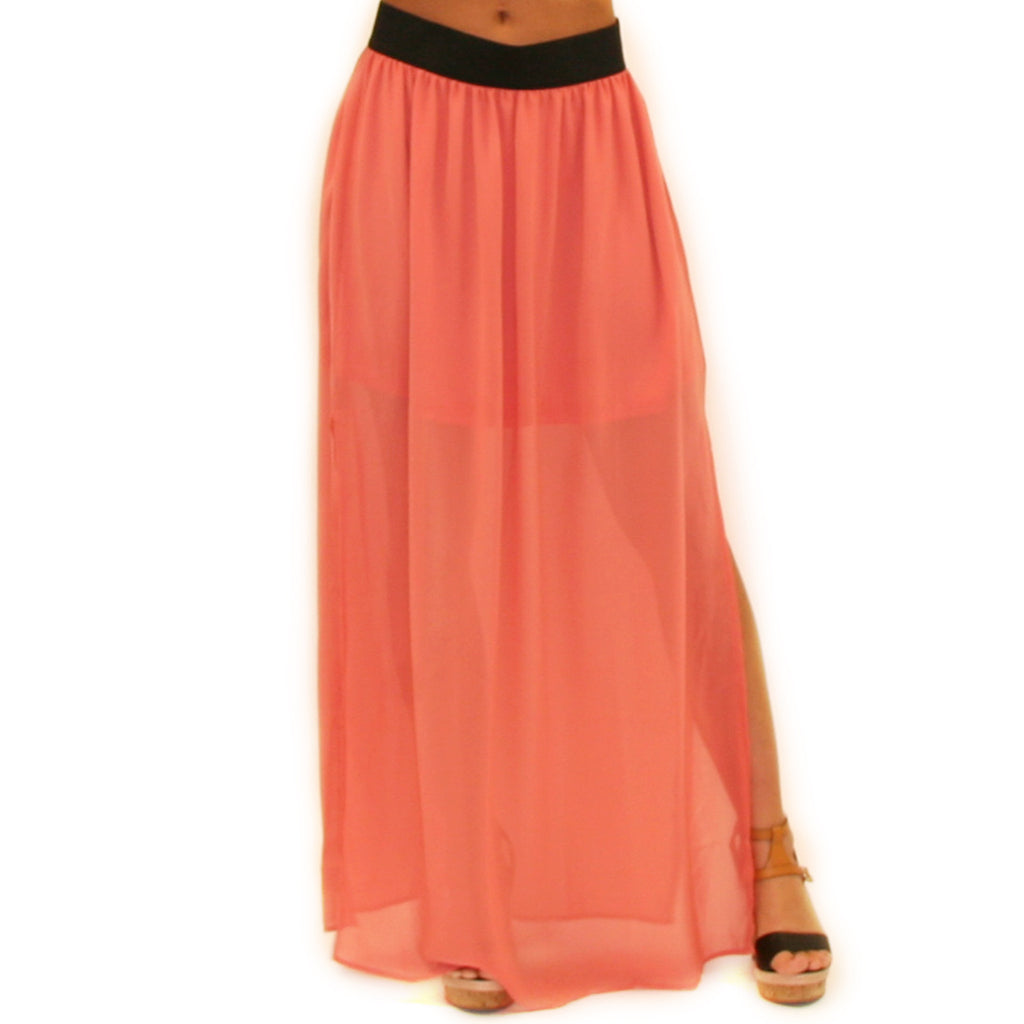 How Dashing Maxi Skirt in Coral