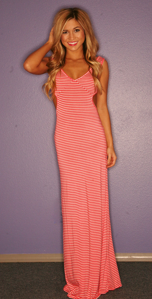 Divine Stripe Maxi in Coral