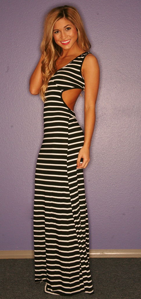 Divine Stripe Maxi in Black