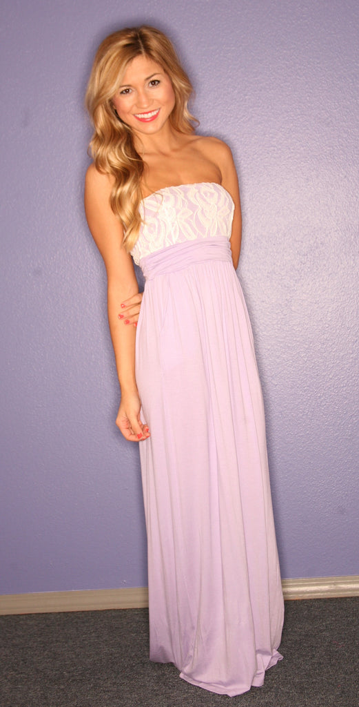 Lace Engagement Strapless Maxi in Lilac
