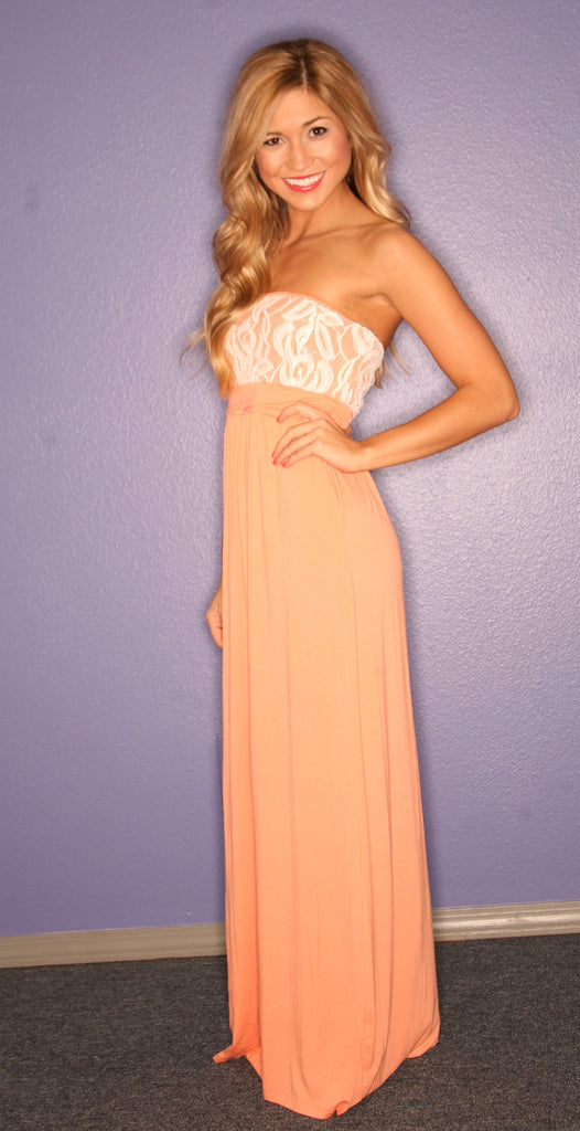 Lace Engagement Strapless Maxi in Apricot