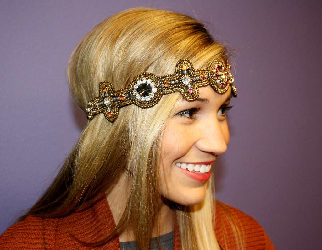 Bronze Beaded Headband