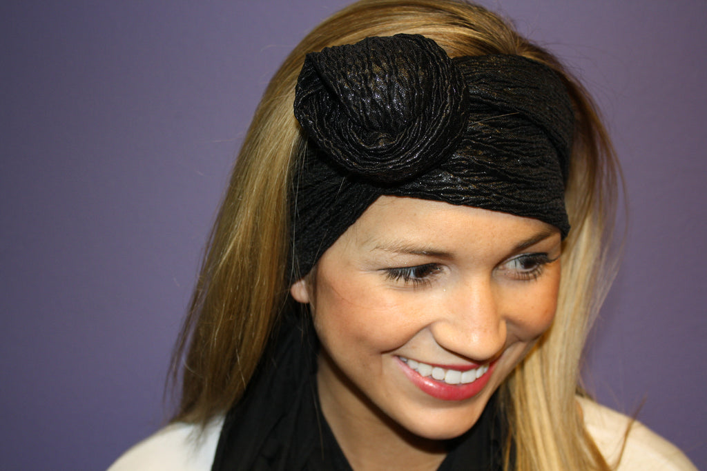 Glam Flexible Headband Black Metallic