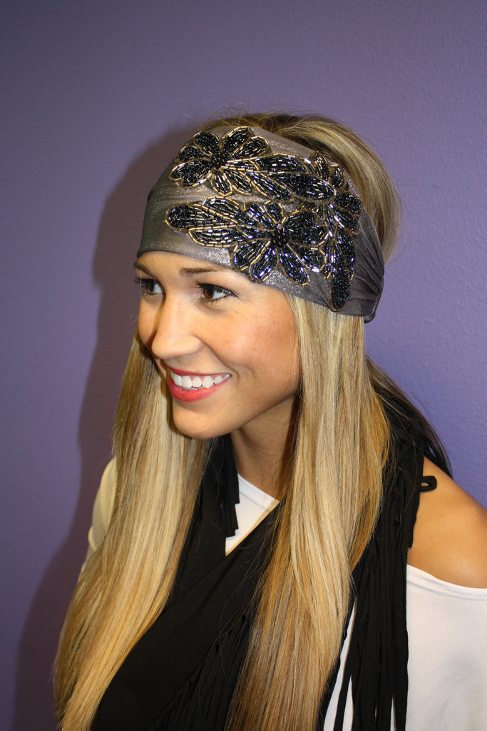 Silver Metallic Jeweled Headband