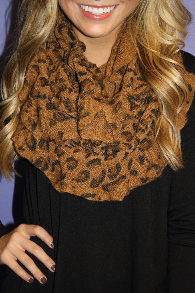 Brown Leopard Infinity Scarf