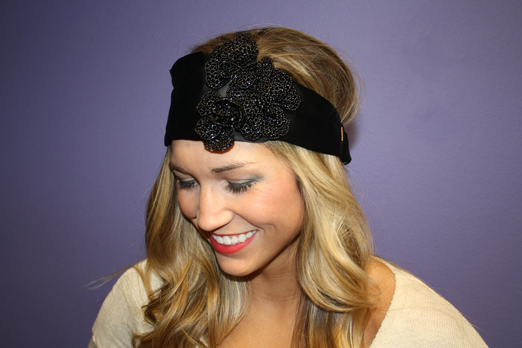 Beaded Flower Headband Black