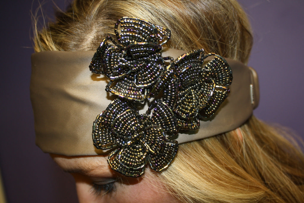 Beaded Flower Headband Mocha