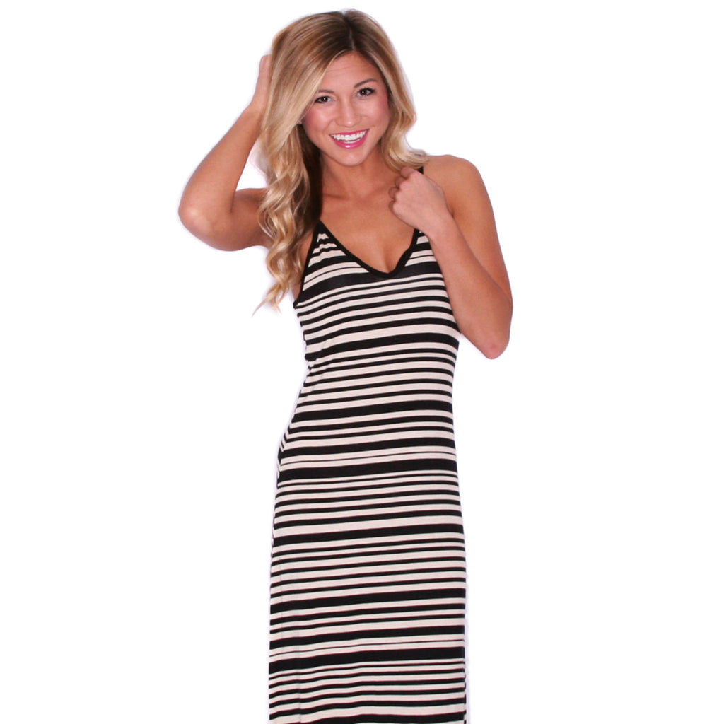Island Stripe Maxi in Taupe