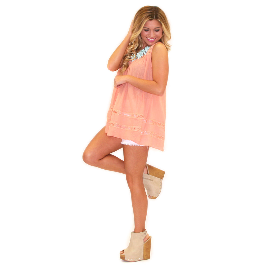 Just Wanna Have Fun Tank in Peach