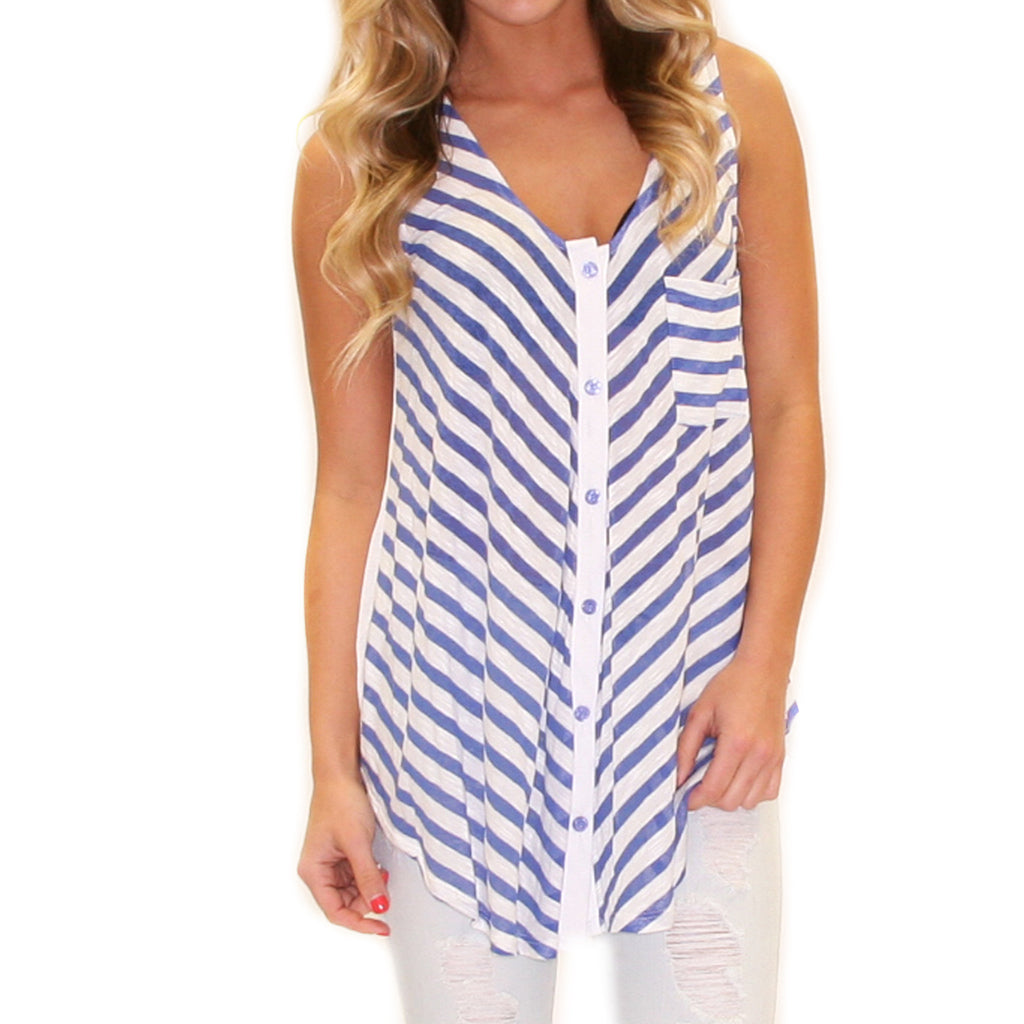 Kiss Me Stripe in Blue