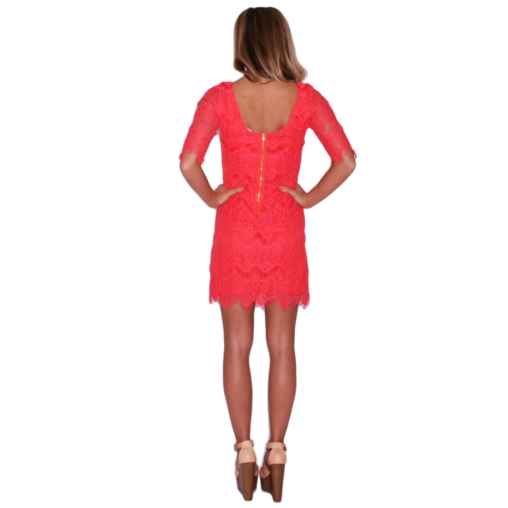 Close Knit Dress in Coral