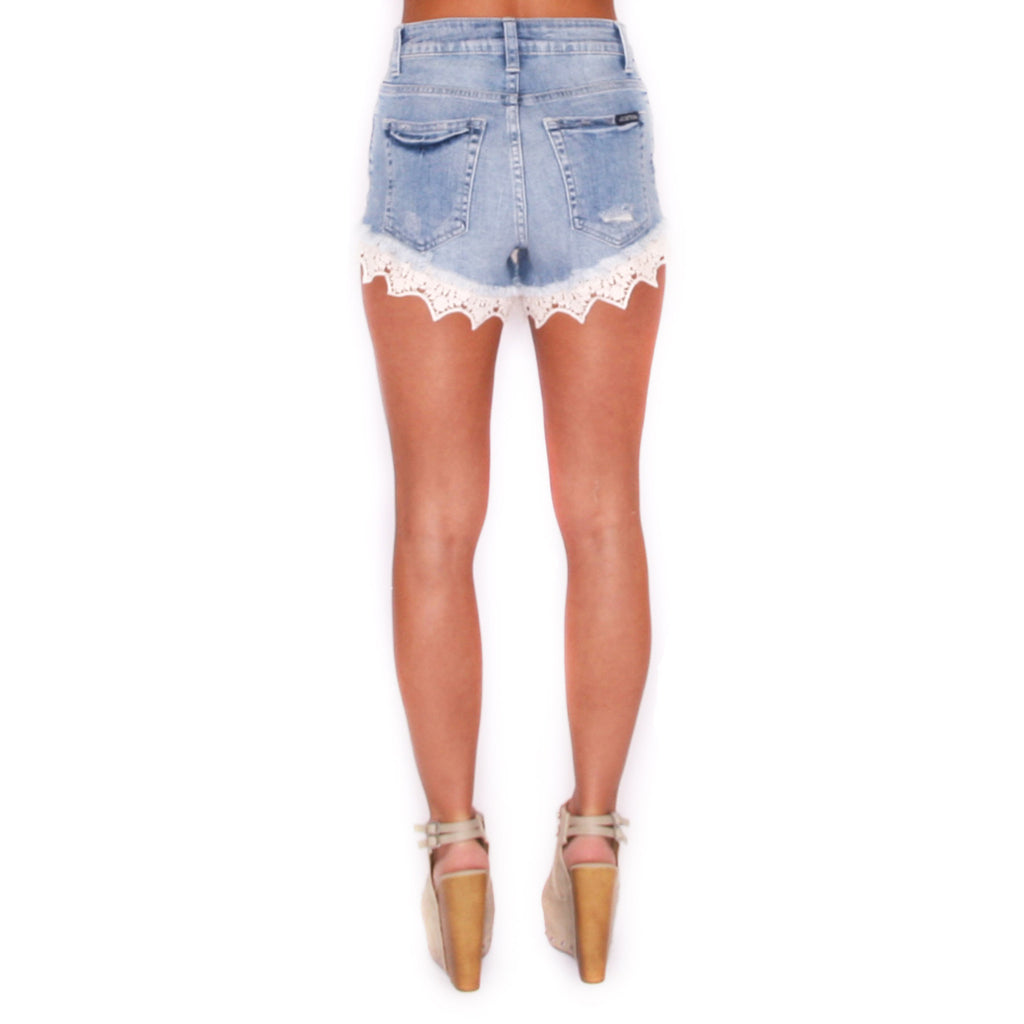 Lace High Rise Shorts Light Blue