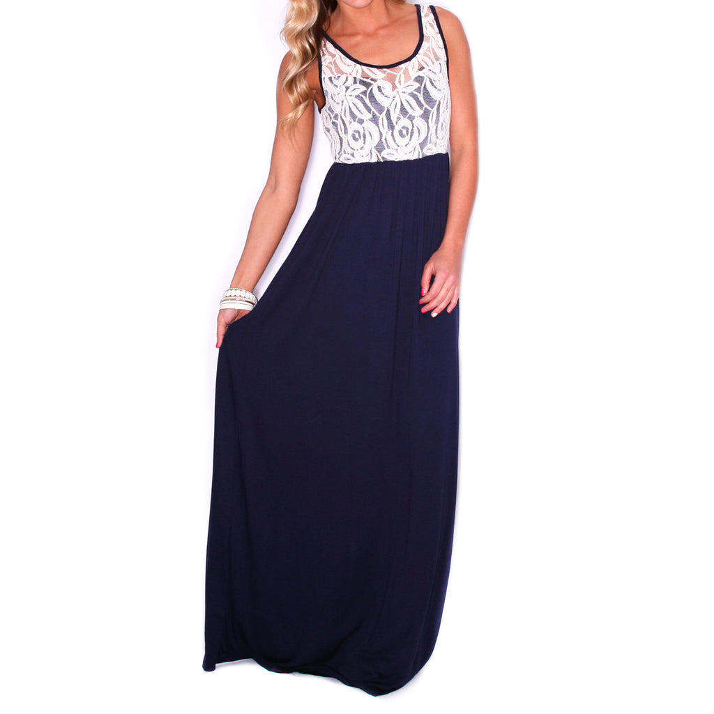 Lace is More Maxi Navy