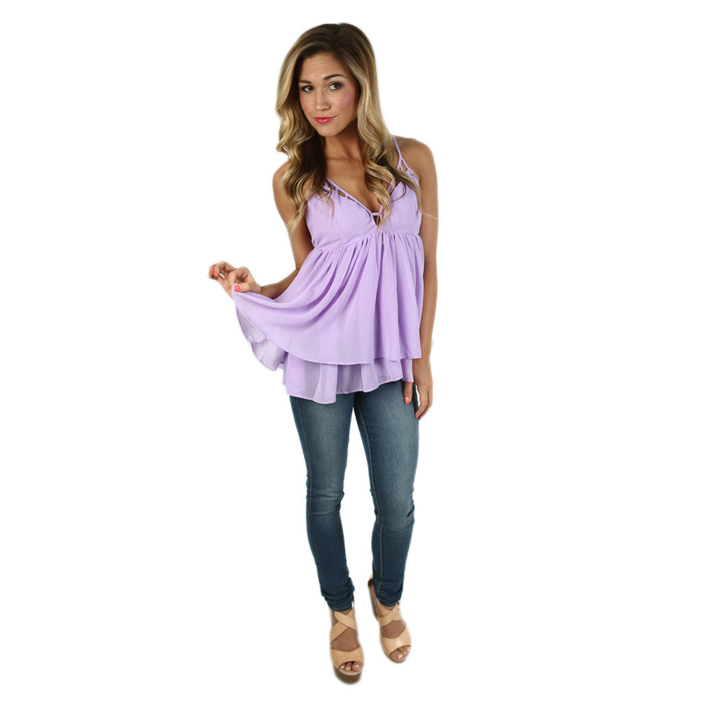 Let's Girl Talk Tank in Lavender