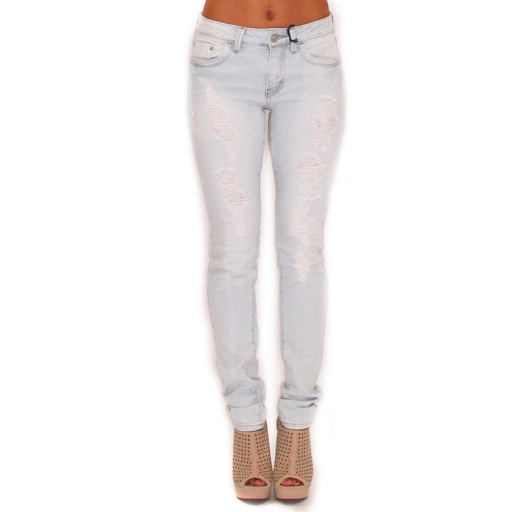 Destroyed Skinny Jean Light Blue