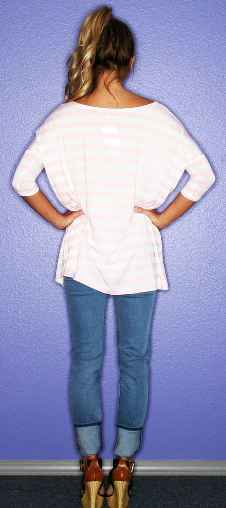 Short Sleeve Light Pink Stripe PIKO