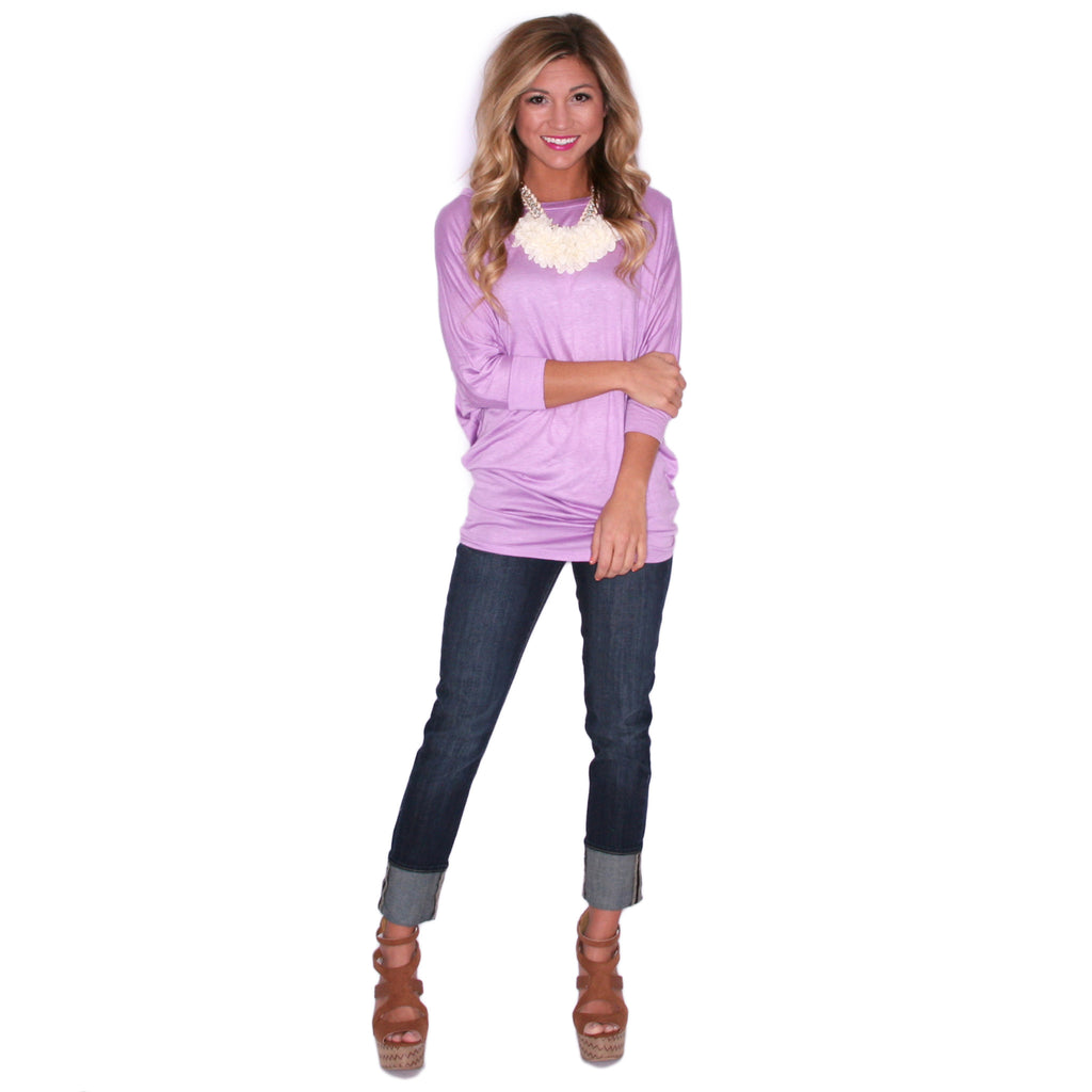 Living In Color Tee In Lavender Impressions Online Boutique