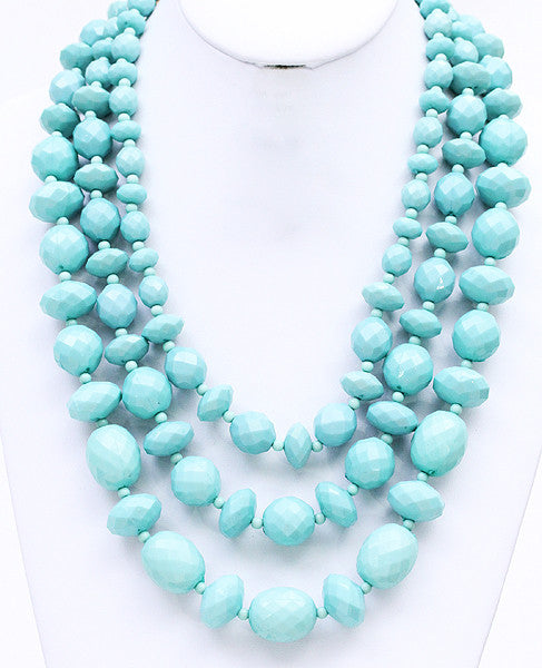 Lovely Strands Necklace in Light Teal