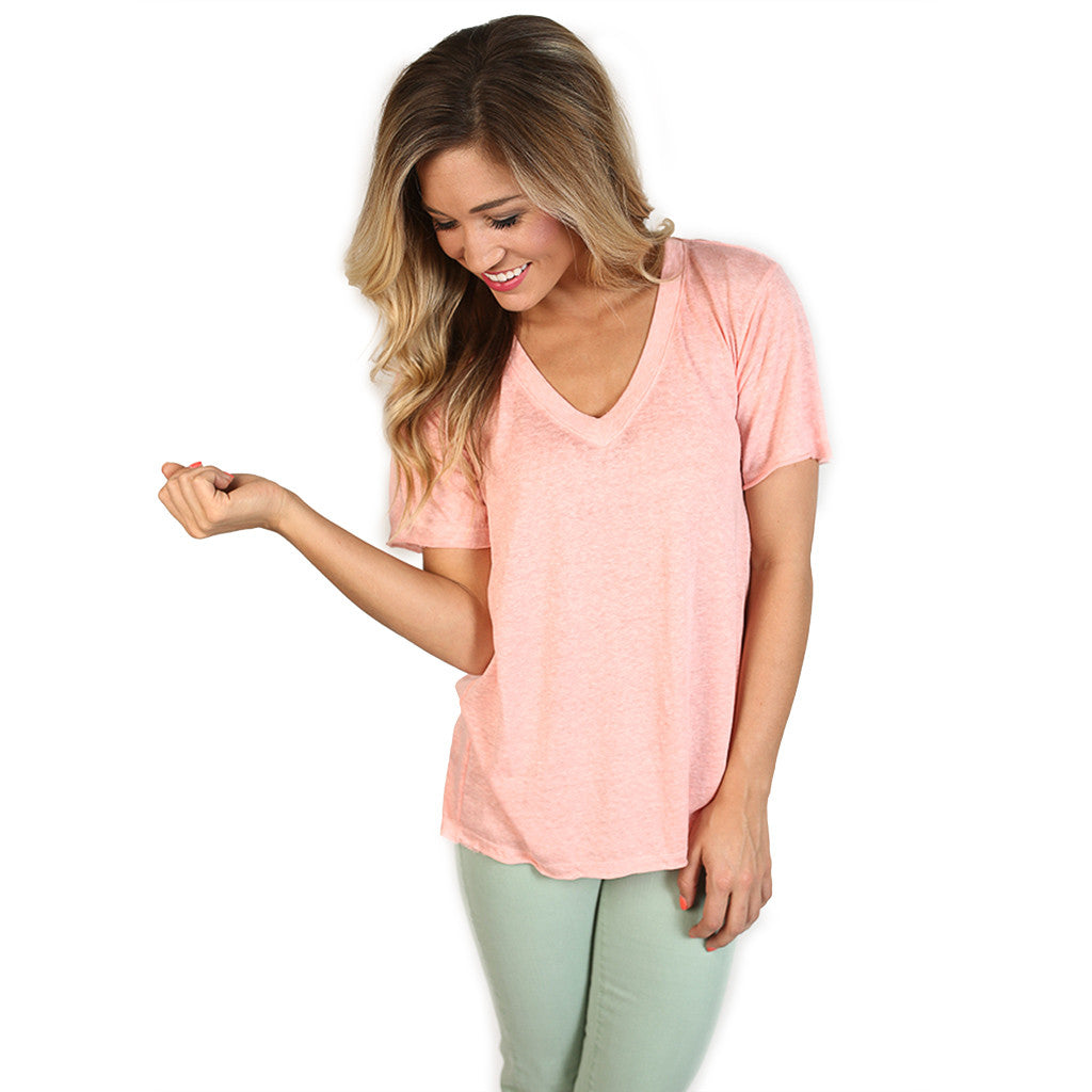 Lucky Girl Tee in Peach
