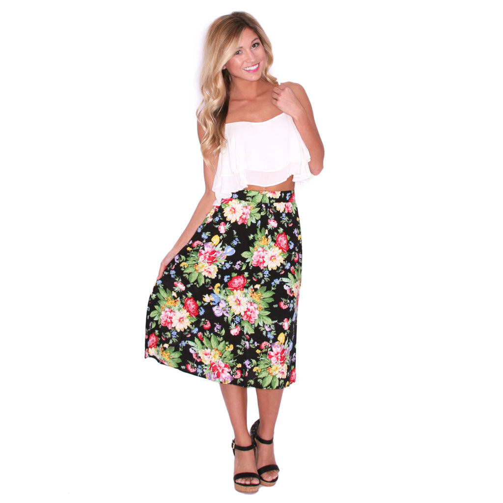Floral Ambition Skirt in Black