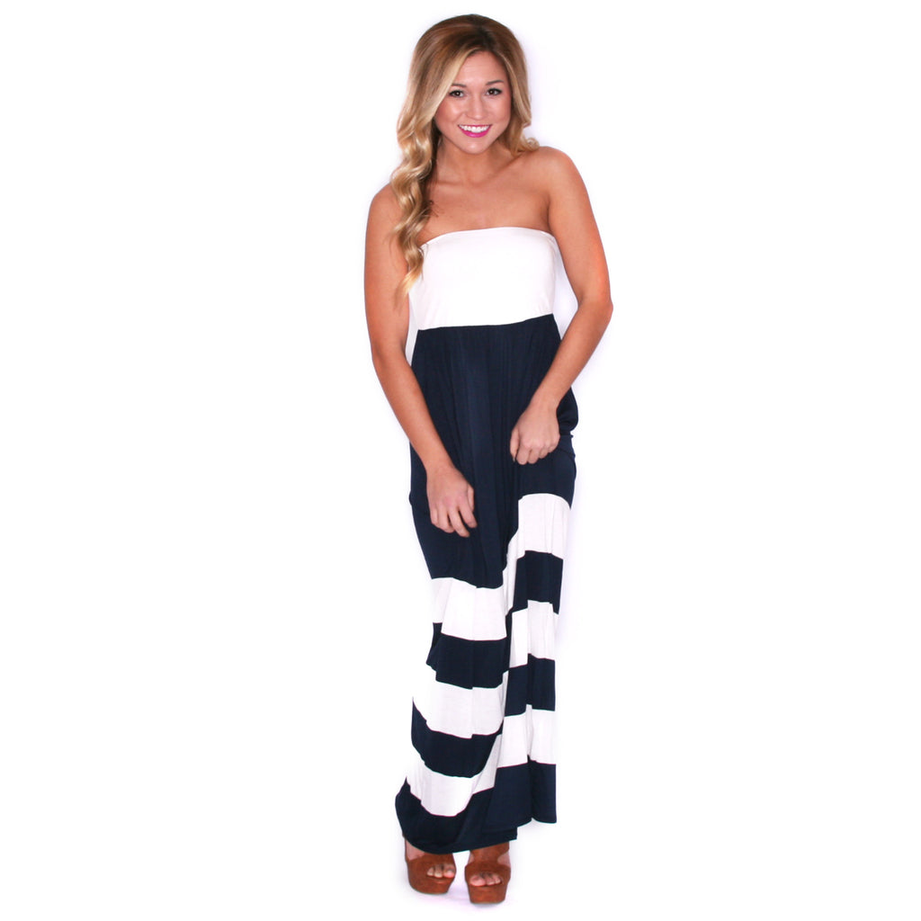 Striped Luxury Maxi Ivory/Navy