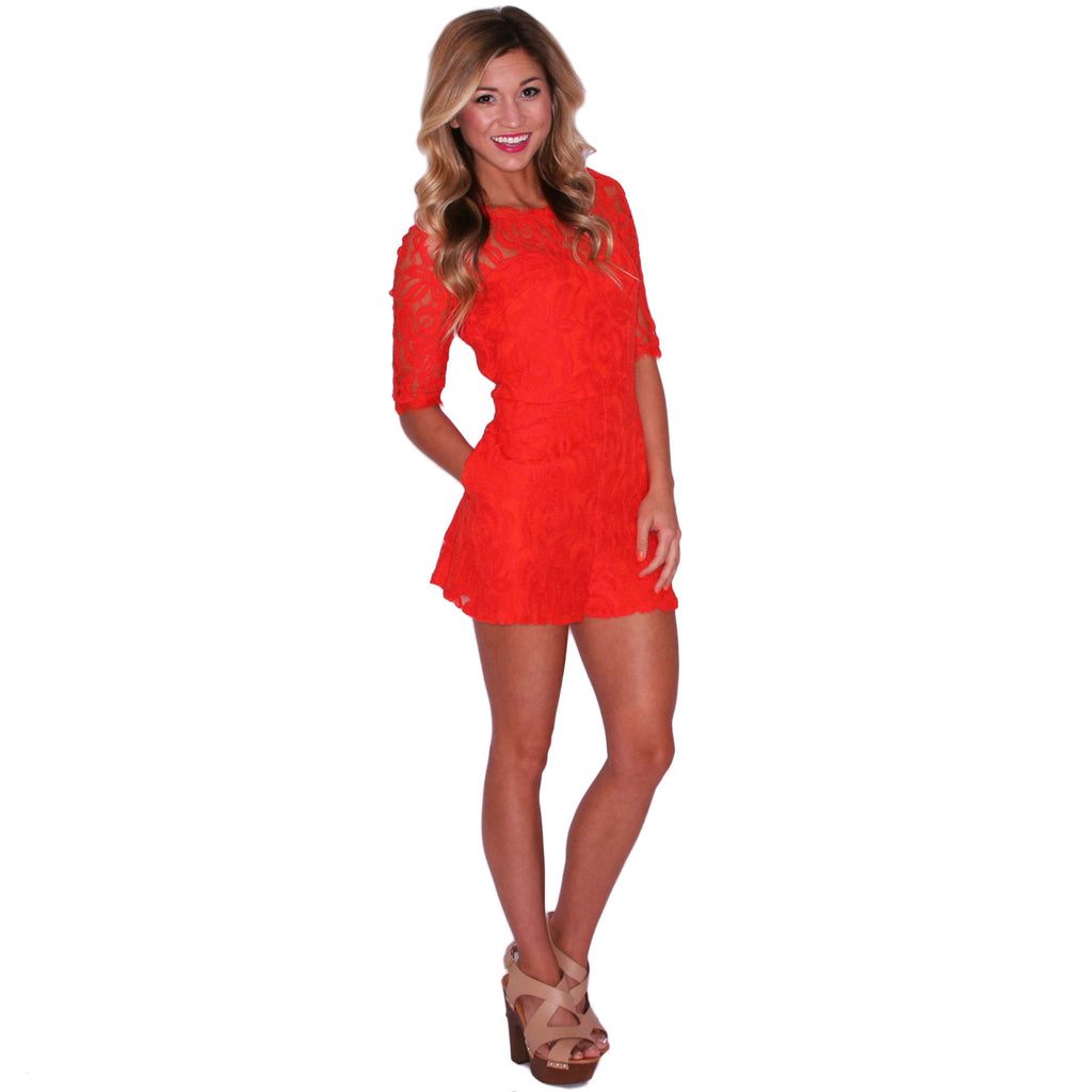 Make Me Blush Romper in Orange