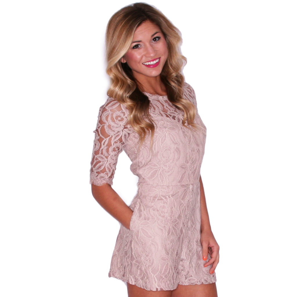 Make Me Blush Romper in Taupe