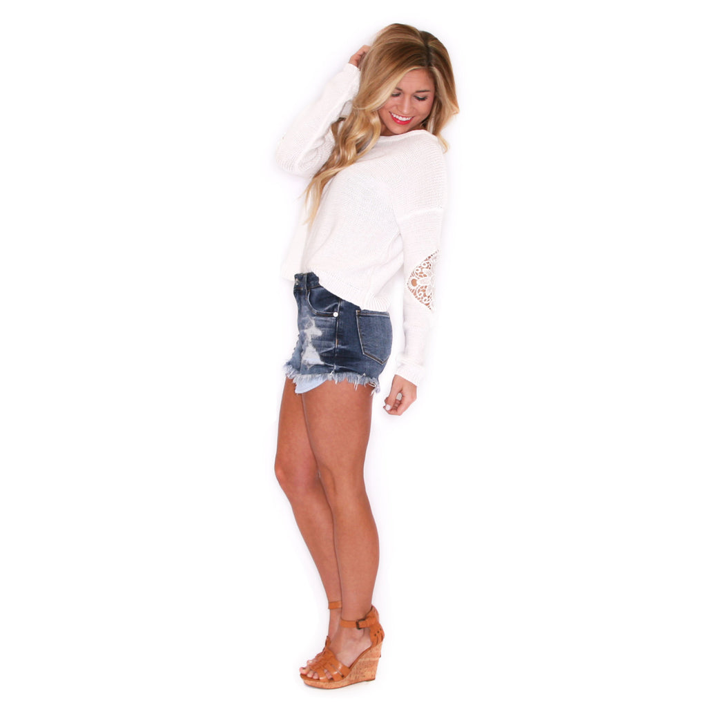 Highrise Distressed Shorts Medium Blue