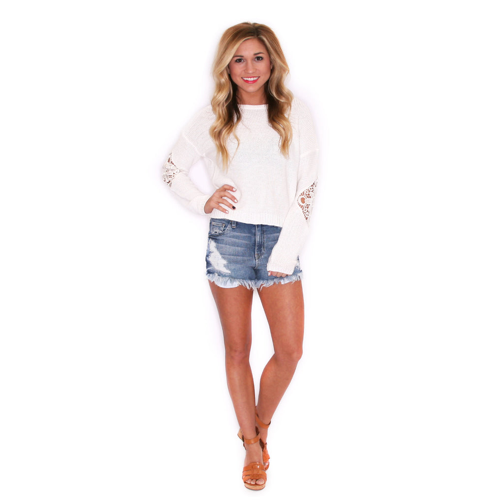 Highrise Distressed Shorts Light Blue