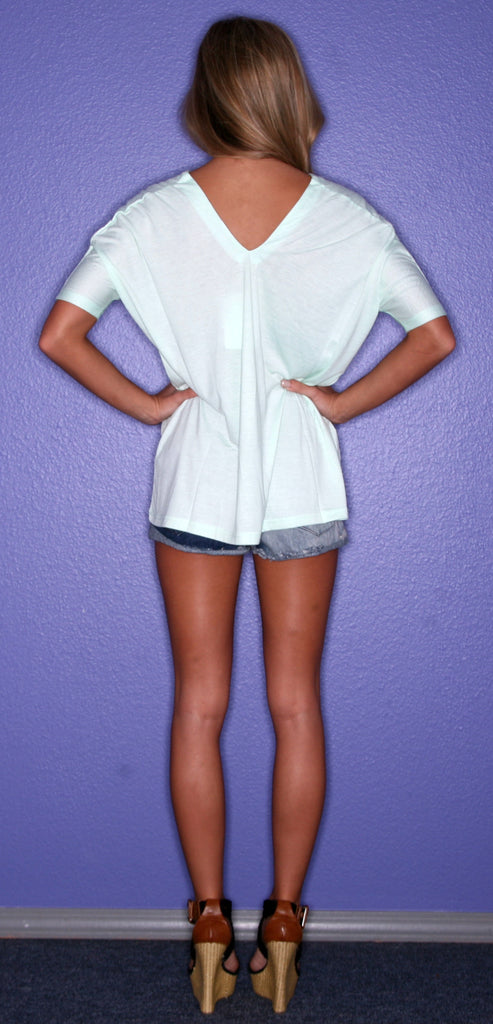 PIKO V-Neck Tee in Mint
