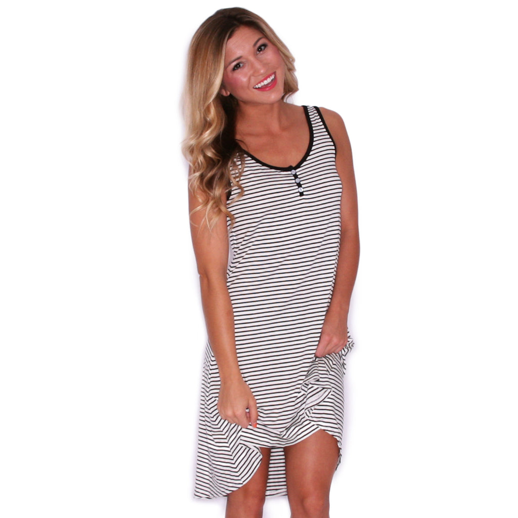 Natural Beauty Stripe Tank Dress in Black