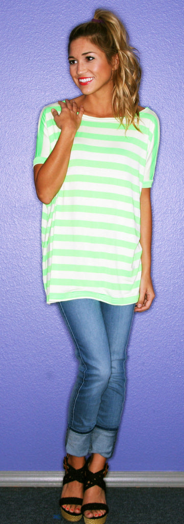 Short Sleeve Neon Green Stripe PIKO
