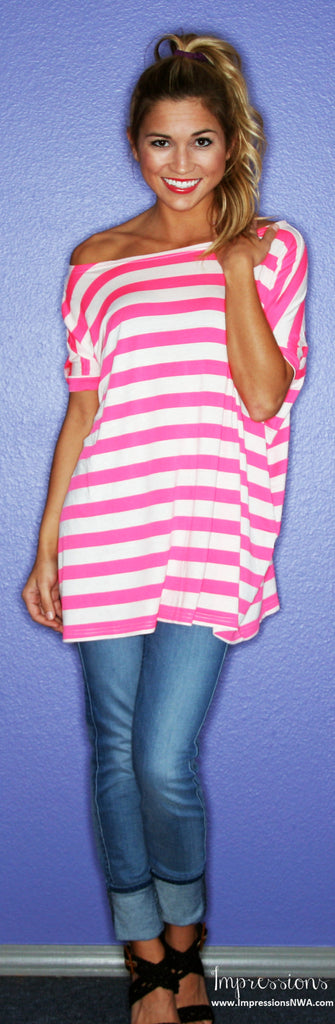 Short Sleeve Neon Pink Stripe PIKO