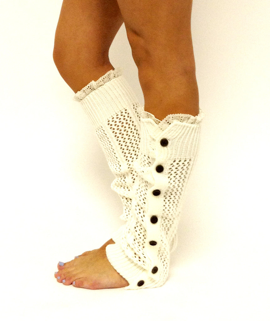 Nellie Knit Lace Legwarmers Off White