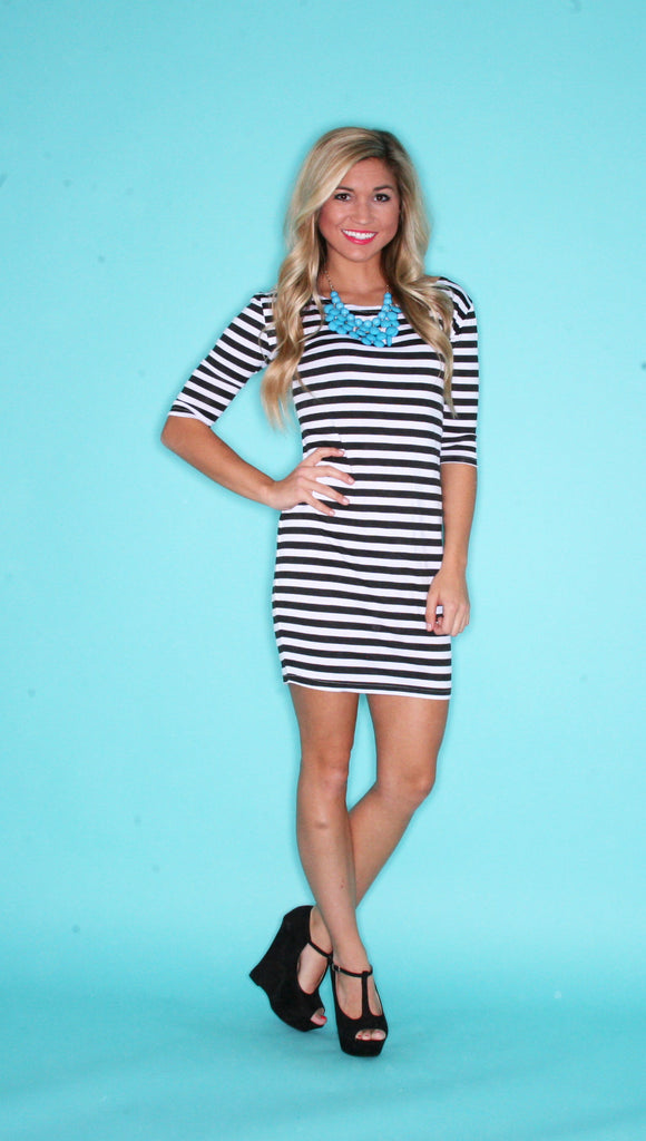 Long Sleeve PIKO Dress in Black & White Stripe