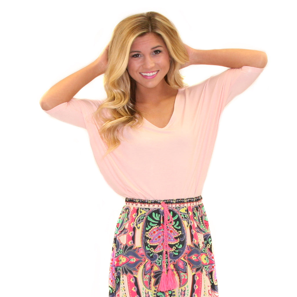 PIKO V-Neck Short Sleeve in Baby Pink