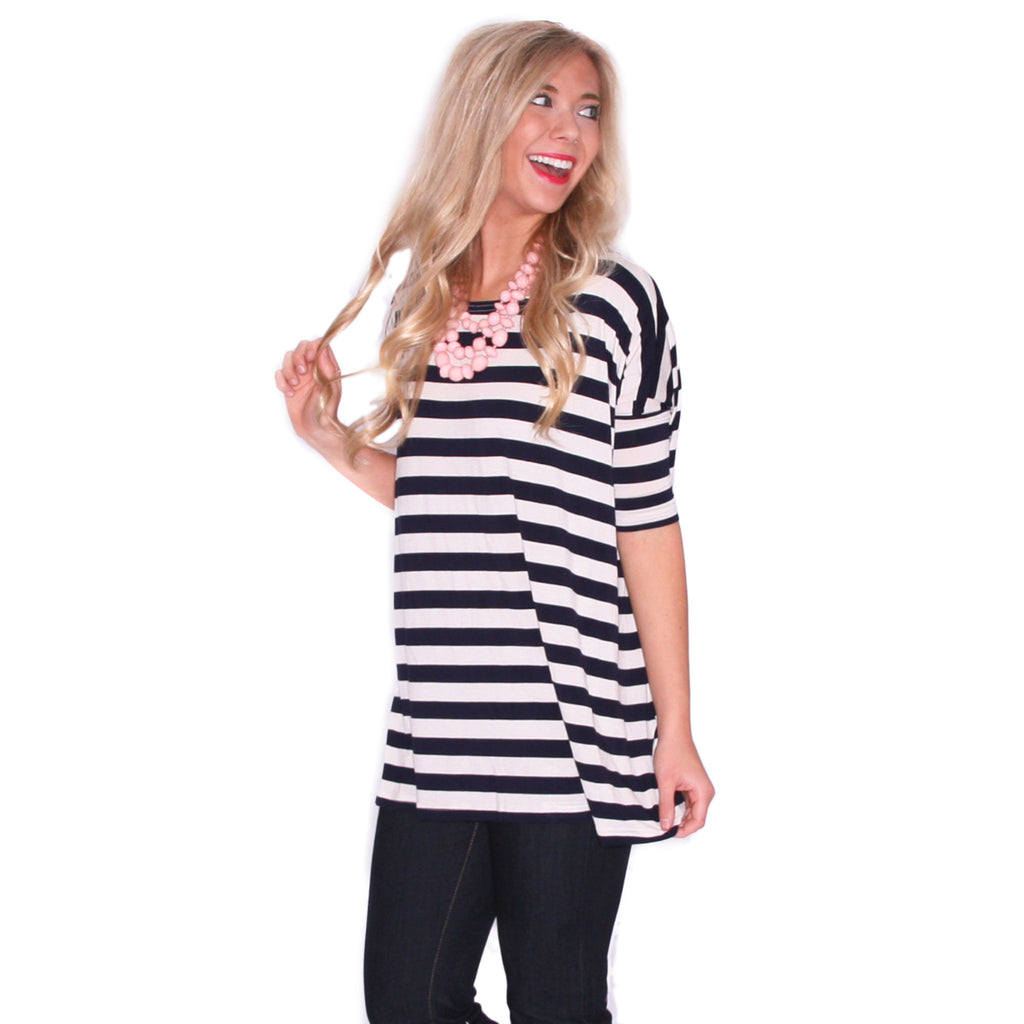 PIKO Striped Tee in Navy