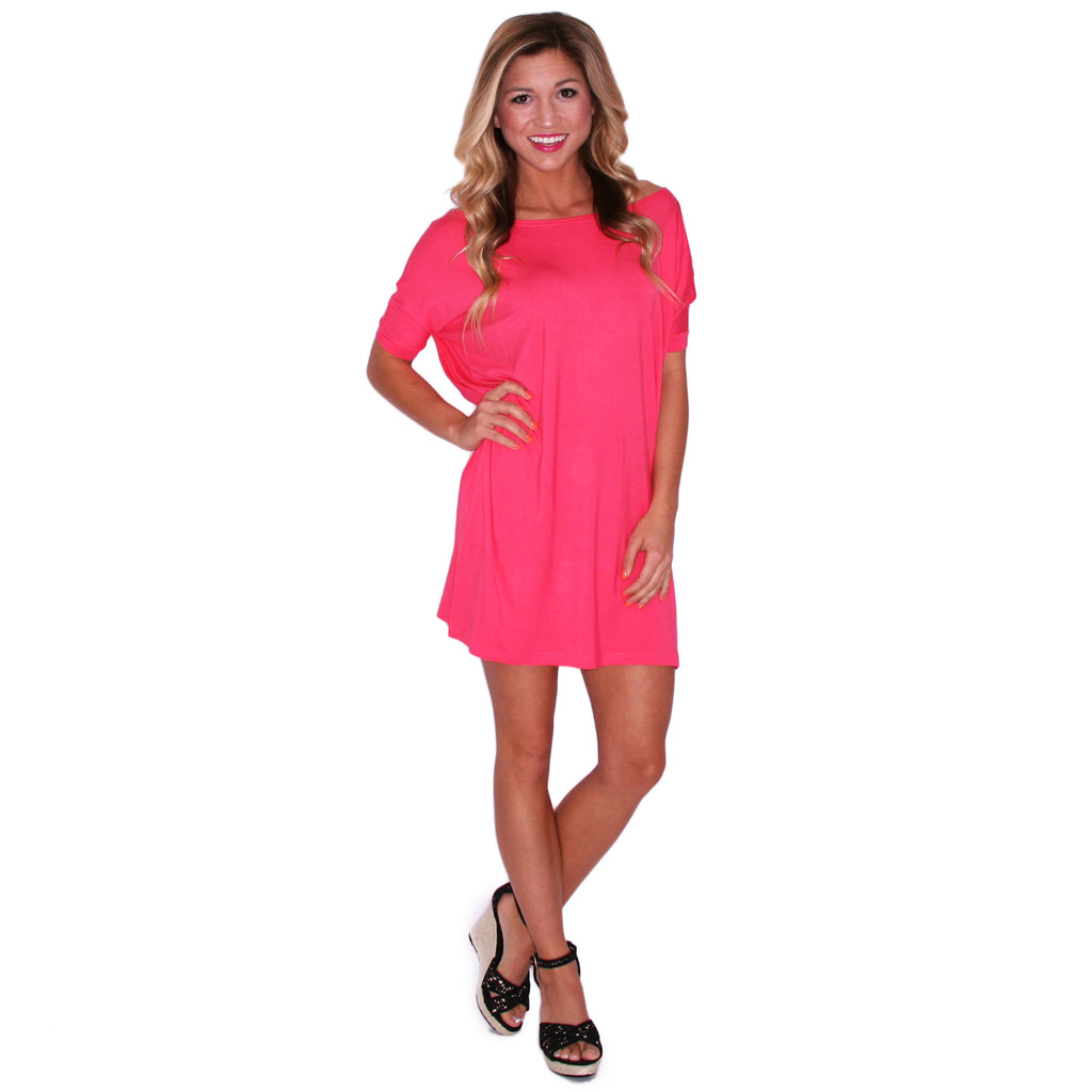 PIKO Short Sleeve Tunic in Hot Pink