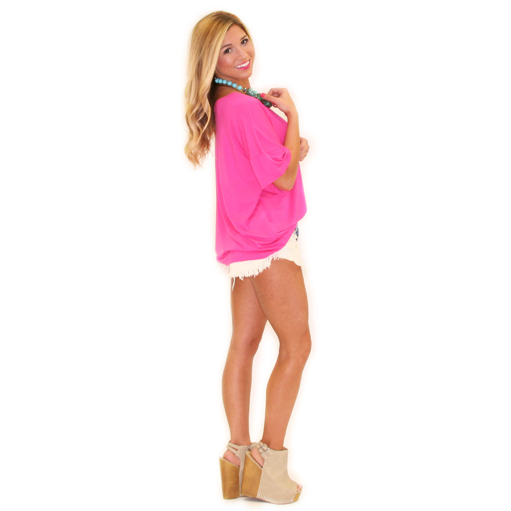 PIKO Loose Fit Tee in Hot Pink