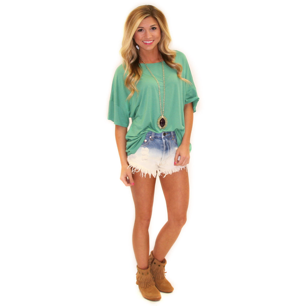 PIKO Loose Fit Tee in Turquoise