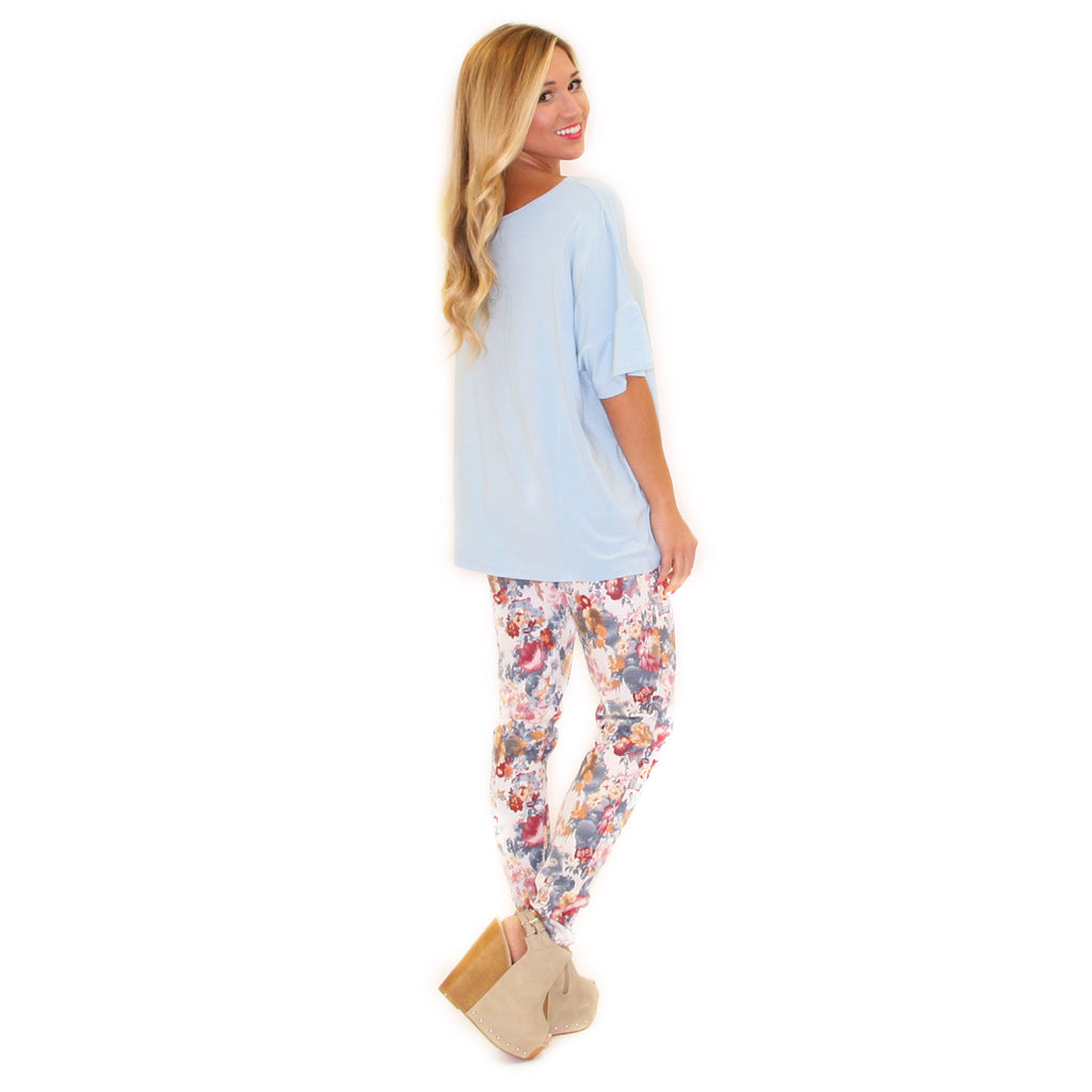 PIKO Loose Fit Tee in Light Blue
