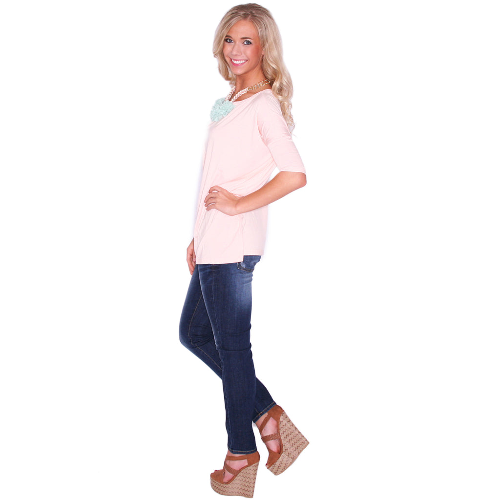 Piko Mid Sleeve Tee in Baby Pink