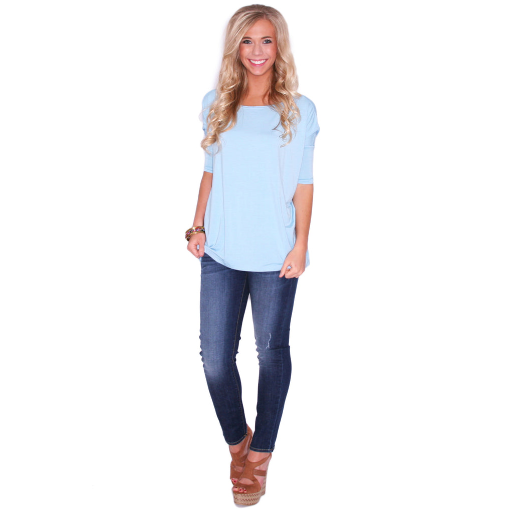 PIKO Mid Sleeve Tee in Light Blue